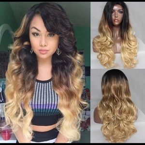 "26"" Wavy 3 Color Ombré Synthetic Lace Front Wig"